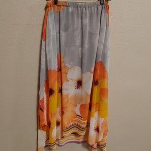 PEASANT/FESTIVAL/BOHO Skirt Orange Flowers